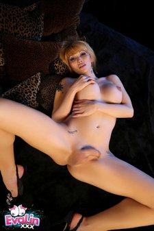 Shemale Pornstar Eva Lin stripping and posing